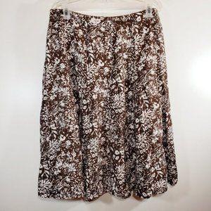 Liz Claiborne Skirt 16W Brown Floral Linen SK1